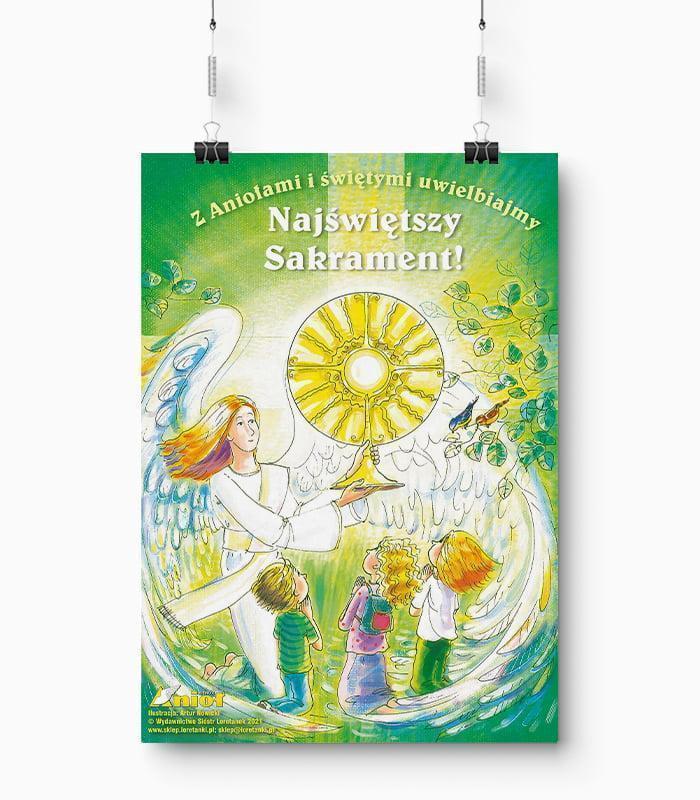 Plakat Z Aniołami i Świętymi Uwielbiajmy Najświętszy Sakrament